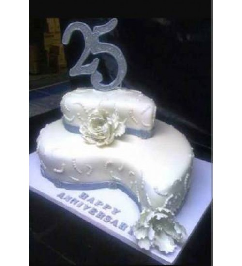 25TH WEDDING ANNIVERSARY CAKE ac01